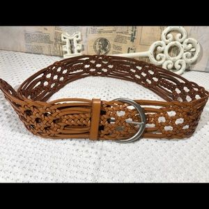 Fossil Wide Woven Leather Belt in Light T